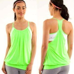 Lululemon No Limit Tank - Zippy Green / White
